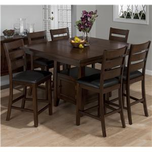 Jofran Taylor Brown Cherry 5-Piece Counter Height Dining Set