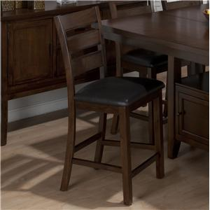 Jofran Taylor Brown Cherry Triple Slat Counter Height Stool