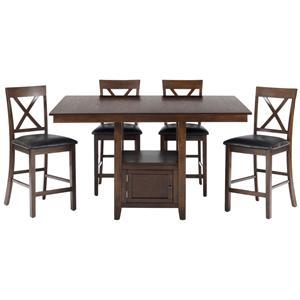 Jofran Olsen Oak 5-Piece Counter Height Dining Set