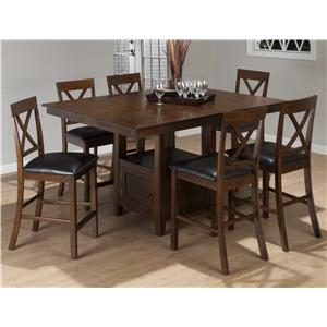 Jofran Olsen Oak 7-Piece Counter Height Dining Set