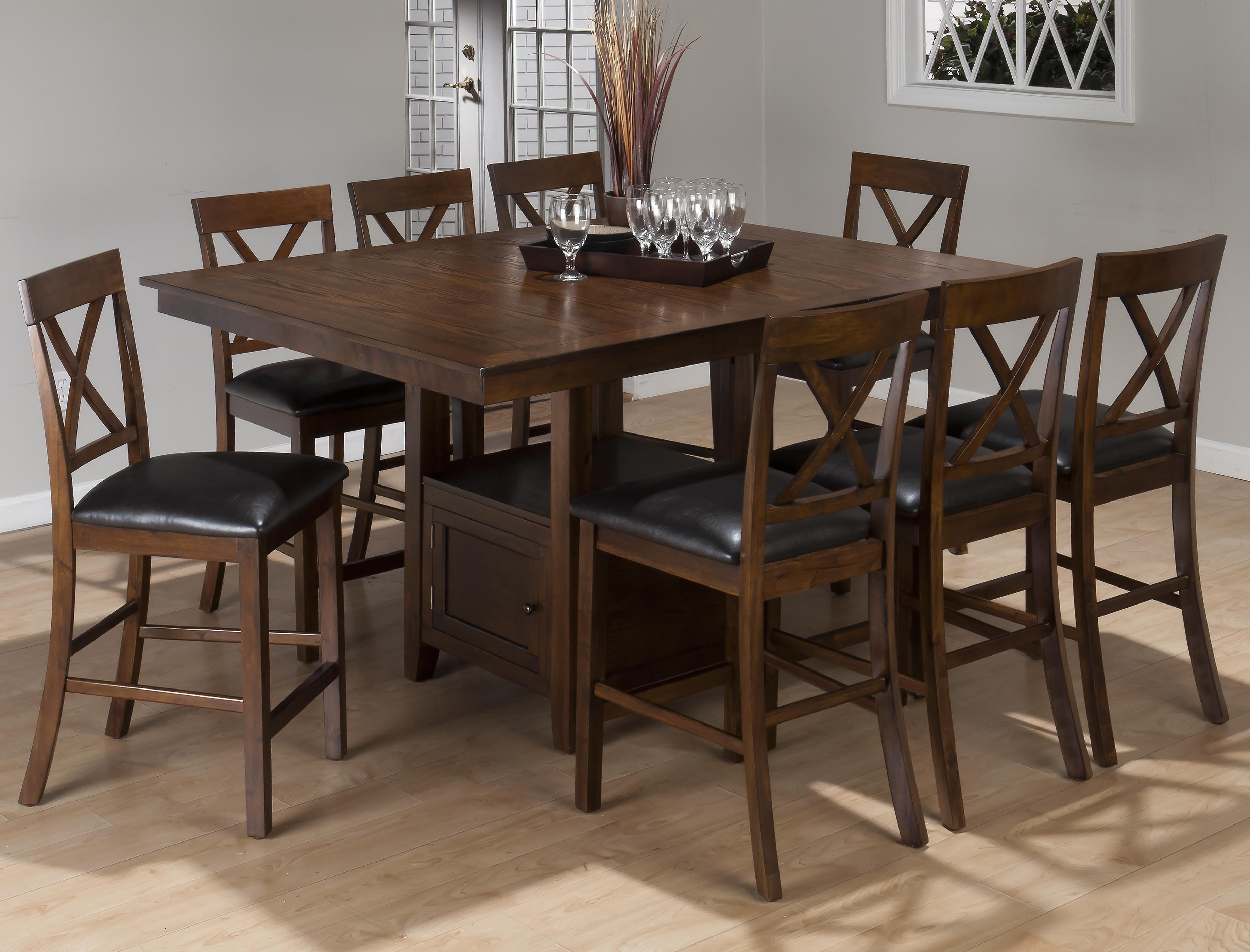 9 Piece Casual Counter Height Pedestal Table X Back Stool Set By