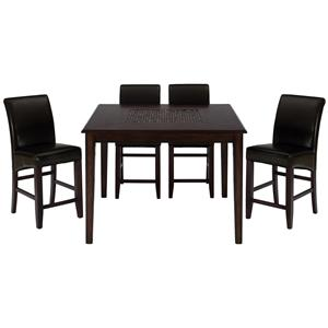 Jofran Baroque Brown 5-Piece Counter Height Dining Set