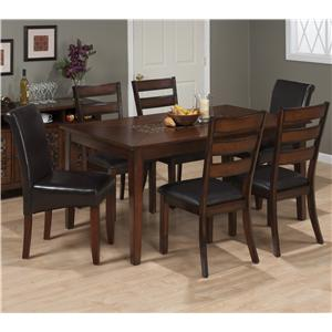 Jofran Baroque Brown Casual Chair and Table Set with Mosaic Inset