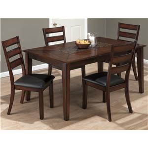 Jofran Baroque Brown Rectangle Table and Slat Back Chair Set