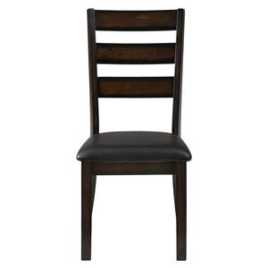 Jofran Baroque Brown Slat Back Side Chair with Faux Leather Seat