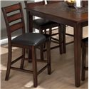 Slat Back Pub Stool with Faux Leather Seat