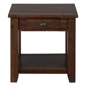 Jofran Urban Lodge Brown End Table w/ Drawer and Shelf