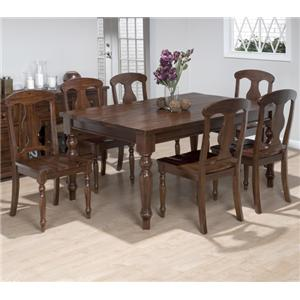 Jofran Urban Lodge 7 Piece Dining Set with Napoleon Chairs