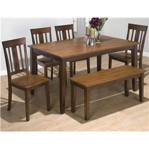 Jofran Amaretto Rectangle Table Set with 4 Chairs and Bench