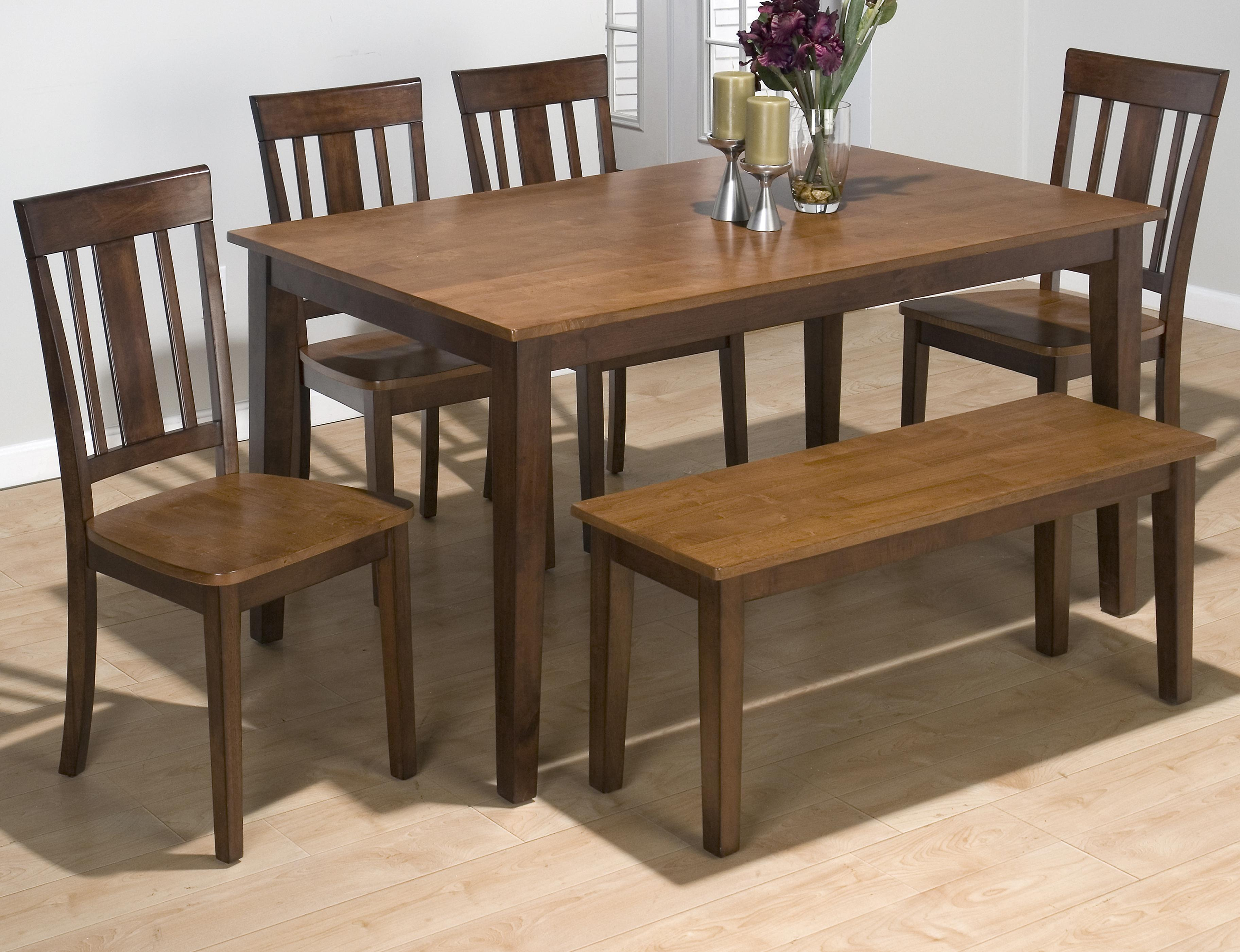 Solid rubberwood rectangle table set with 4 triple upright chairs