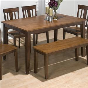 Two-Tone Solid Rubberwood Rectangular Table with Sabre Legs
