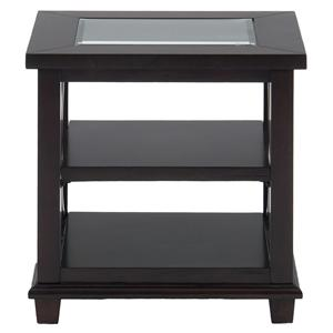 Jofran Panama Brown End Table w/ Glass Top
