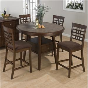 Jofran Caleb Brown Round Canted Leg Counter Height Table Set