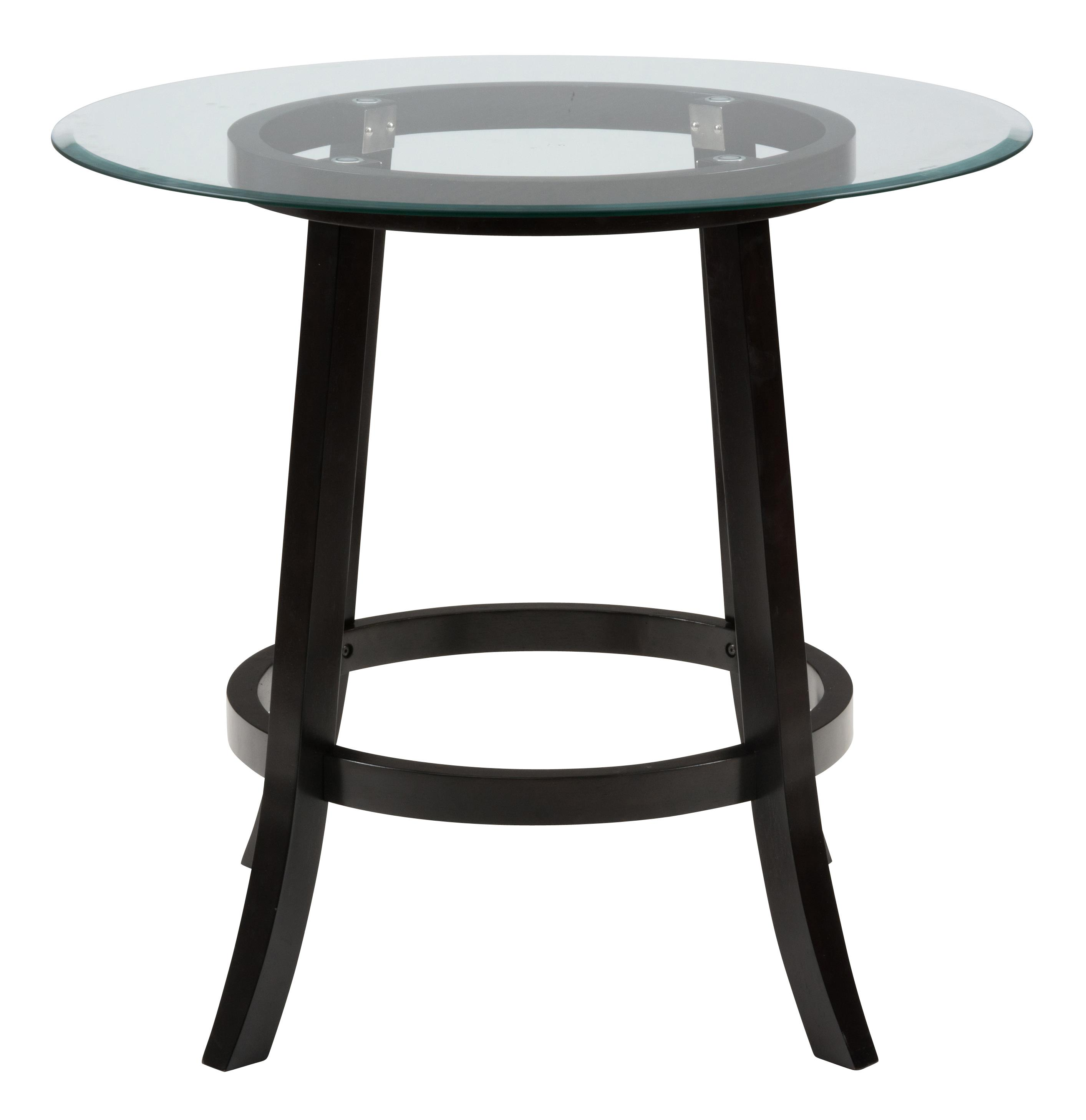 42 round pub table with glass top by jofran wolf and gardine