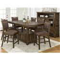 Solid Wood Table & 6 Stools