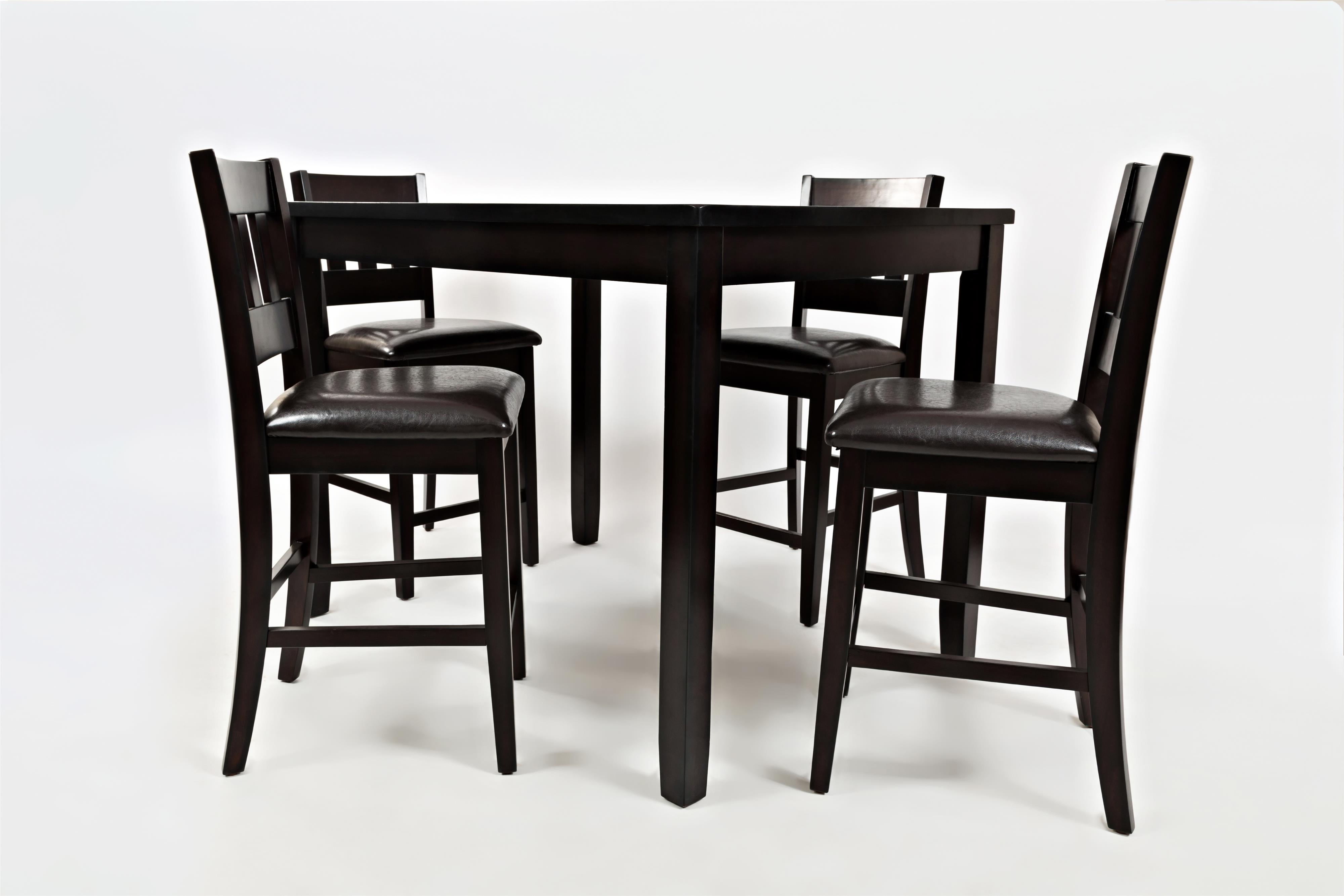 Dark Rustic Prairie Counter Height Table and Four Stools by Jofran ...