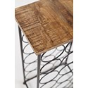 Jofran Global Archive Accent Table with Bottle Storage - Table Top Detail Shot