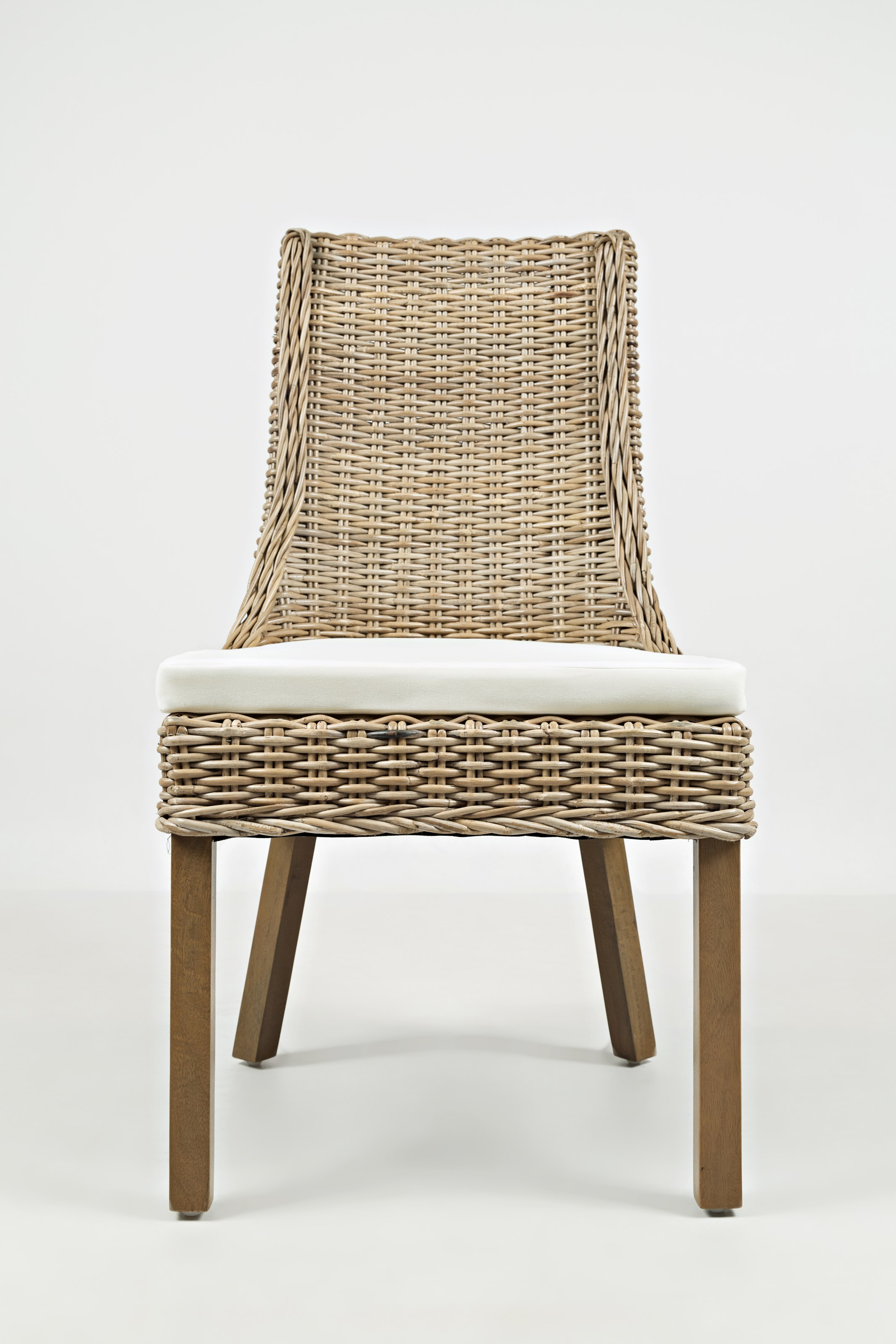 Transitional Rattan Dining Chair With Cushion