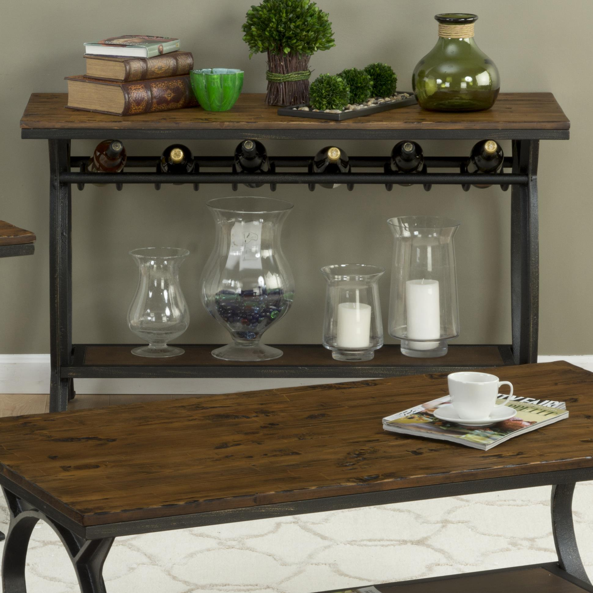 harper s press sofa table with wine rack by jofran wolf and rh wolffurniture com Wine Rack Table with Storage Wine Storage Console