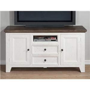 Jofran Nantucket Aged White Media Unit with Storage