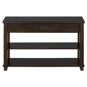 Jofran Cassidy Brown Plank Top Sofa Table with Drawer and Shelves