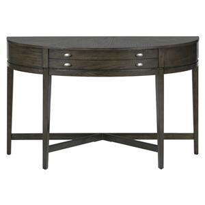 """Jofran Miniatures - Antique Gray Oak Demilune """"X"""" Base Sofa Table"""