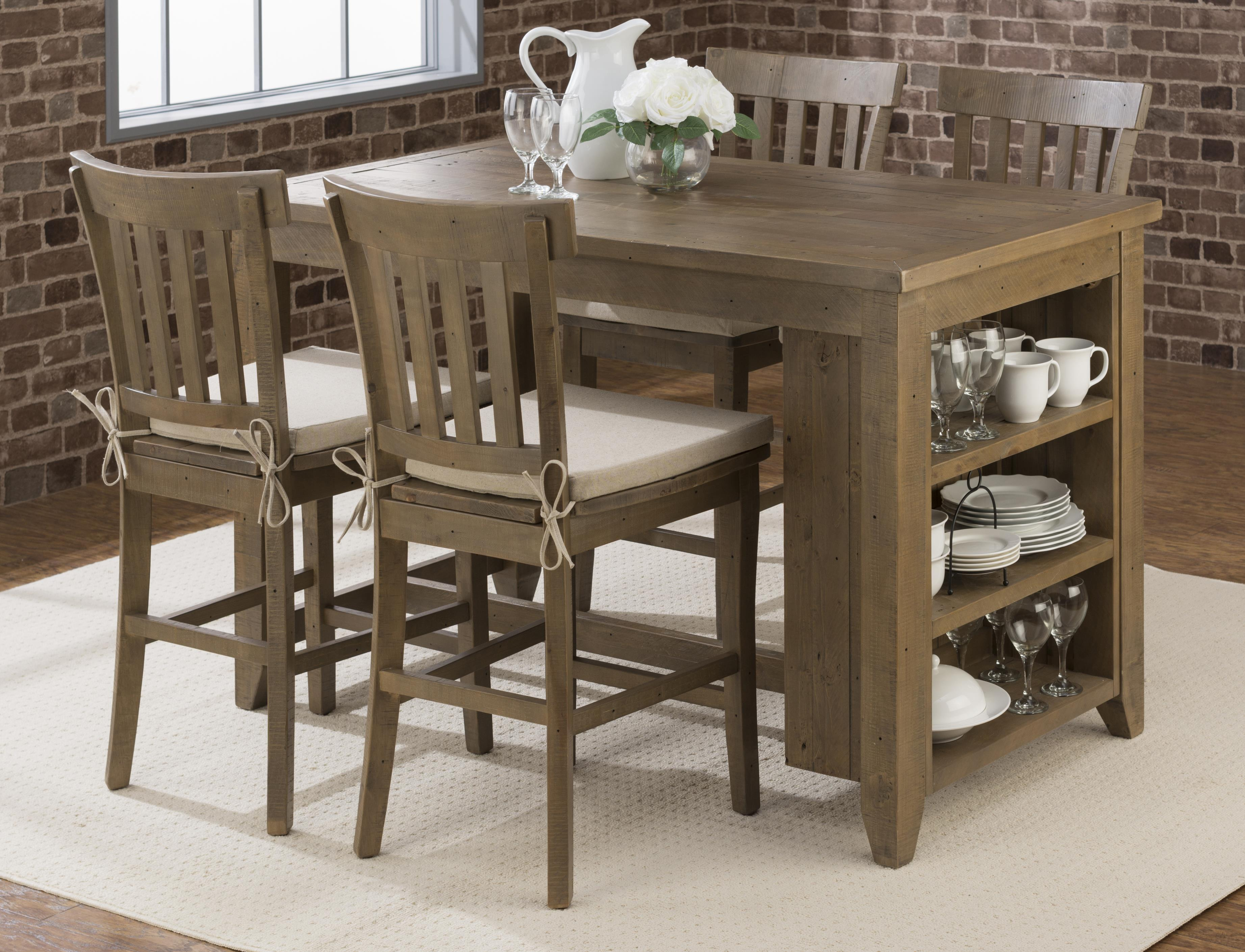 Counter Height Storage Table With Stool Set By Jofran Wolf And