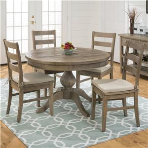 Jofran Slater Mill Pine RD Slater Table + 4 Laddeback Chairs Set
