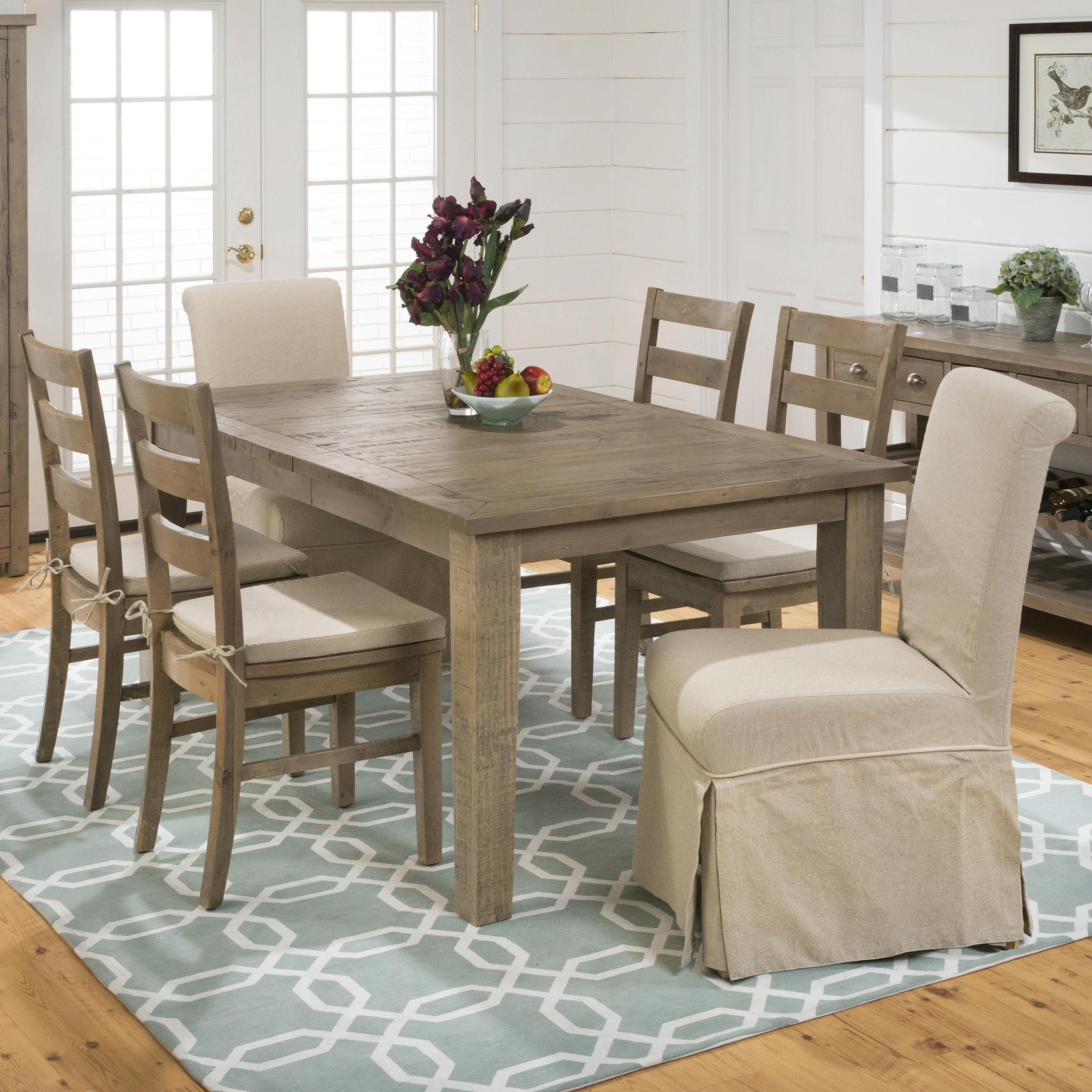Rectangular Table, Ladderback Chair, And Slipcover Skirted Parson Chair Set