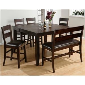Jofran Dark Rustic Prairie 5-Piece Counter Height Butterfly Leaf Table