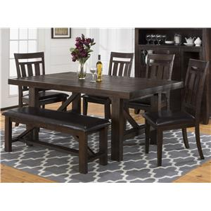 Jofran Kona Grove Dining Table, Chair and Bench Set