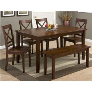 Jofran 3x3x3: Caramel Rectangle Dining Table Set with Bench