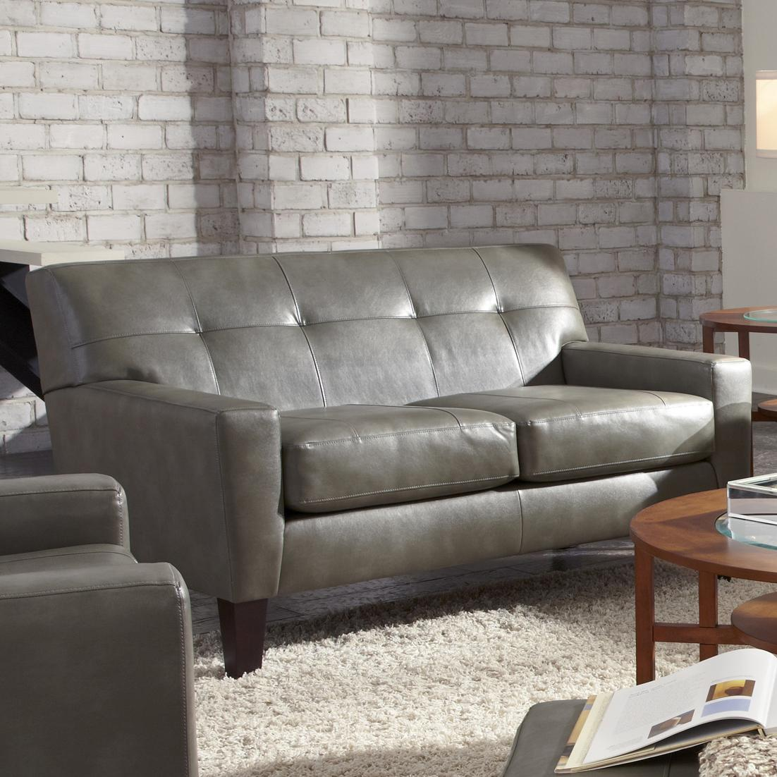 By Best Home Furnishings. Top Grain Leather Match Contemporary Loveseat  With Tufting And Accent Welting