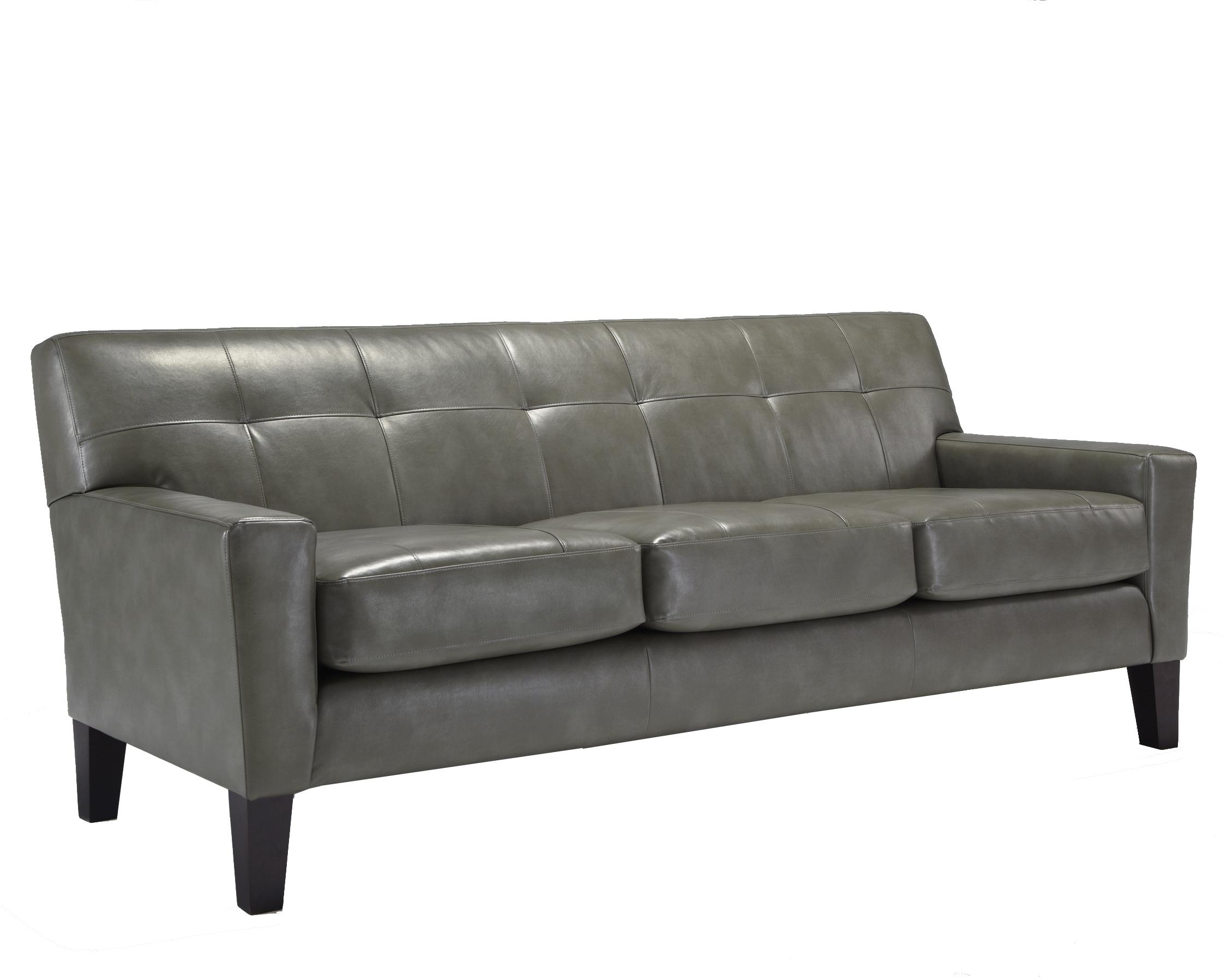 Contemporary Top Grain Leather Match Sofa with Tufting and Track