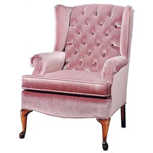 Justice Furniture Accent Chairs and Ottomans Wing Chair with Tufted Seat Back