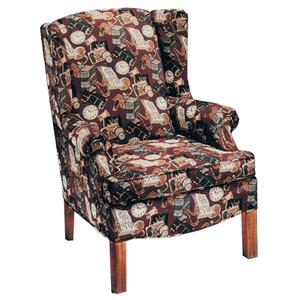 Justice Furniture Accent Chairs and Ottomans Wing Chair with Contemporary Styled Accents