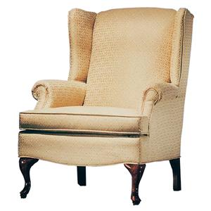 Justice Furniture Accent Chairs and Ottomans Comfortable Wing Chair with Cabriole Legs