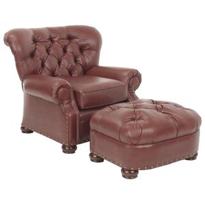Justice Furniture Accent Chairs and Ottomans Brentwood Chair and Ottoman with Tufted Back