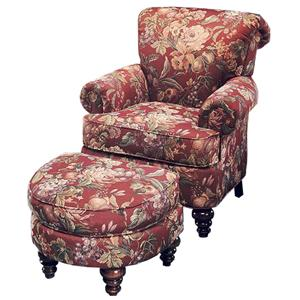 Justice Furniture Accent Chairs and Ottomans Rolled Back Chair and Ottoman Set