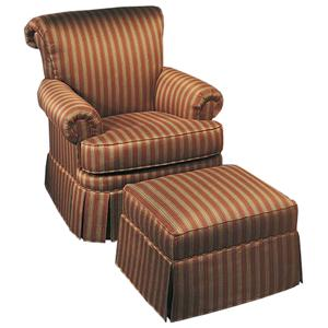 Justice Furniture Accent Chairs and Ottomans Traditional, Rolled-Back Chair & Ottoman Set
