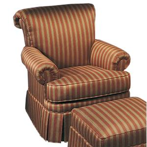 Justice Furniture Accent Chairs and Ottomans Traditional, Rolled-Back Chair with Skirt