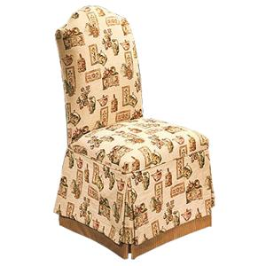 Justice Furniture Accent Chairs and Ottomans Upright Parsons Chair in Skirted Style