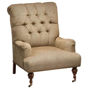 Justice Furniture Accent Chairs and Ottomans Tufted Back Chair with Caster Wheel Feet