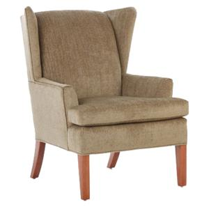 Justice Furniture Accent Chairs and Ottomans Modern Wing Chair with Curving Sides