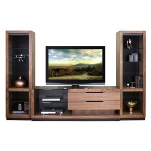 Martin Home Furnishings Stratus-Walnut Right Focused Wall Unit with 2 Open Piers