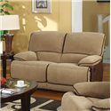 Kian 3410 Casual Dual Reclining Loveseat with Faux Leather and Corduroy