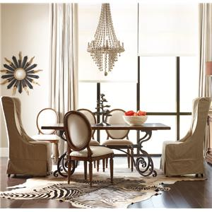 """Kincaid Furniture Artisan's Shoppe Dining 7 pc 72"""" Table w/ Oval and Hostess Chairs"""