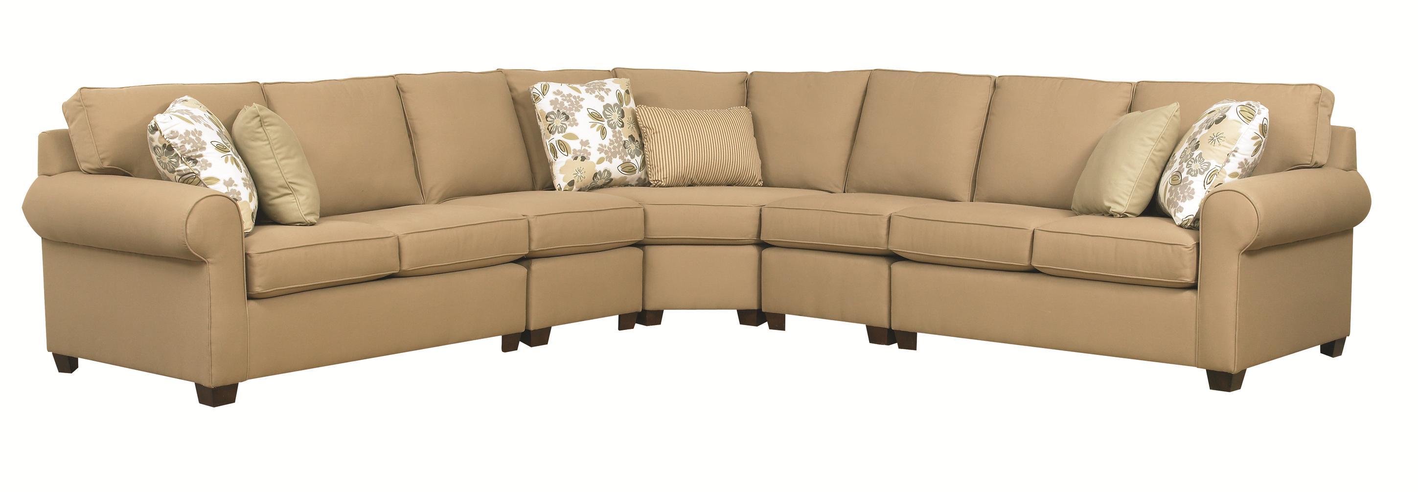 Five Piece Sectional Sofa With Rolled Arms