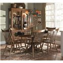Kincaid Furniture Cherry Park Solid Cherry Round Pedestal Dining Table - Shown with Windsor Side and Arm Chair, and China Cabinet