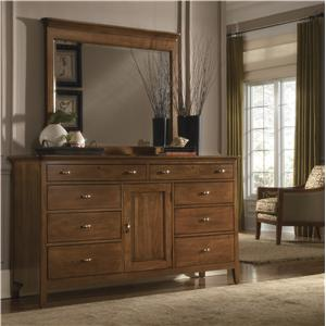 Kincaid Furniture Cherry Park Door Dresser & Landscape Mirror Combo